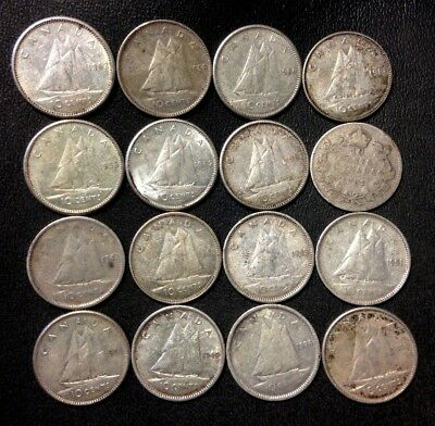Old Canada Silver Coin Lot - 10 Cents - 1931-1962 - 16 Silver Coins - Lot #A20