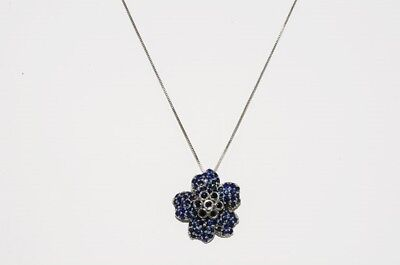 $750 1.80Ct Natural Round Cut Blue Sapphire Cluster Flower Necklace .925 Silver