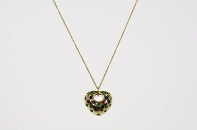 $1,750 .92Ct Natural Emerald, Ruby, & Sapphire Cluster Open Heart Necklace 14K