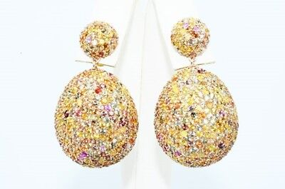 $3,000 27.50Ct Natural Multi-Color Sapphire Double Sided Cluster Drop Earrings