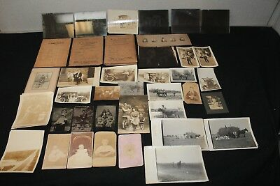 Antique real photos Postcards Tin Type Glass negatives of Train workers Cars