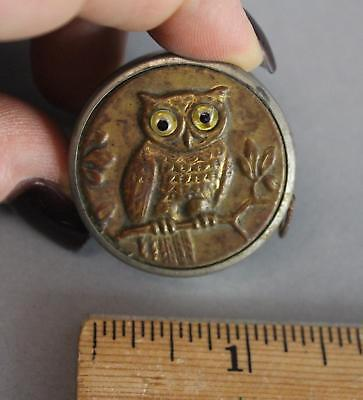 Vintage Germany Sewing Tape Measure Brass Embossed Owl w/ Glass Eyes No Reserve