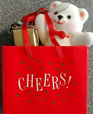 Avon Gift Collection Timeless Treasures Holiday Friend Ornament Teddy In Bag NIB