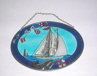 Sailboat Stained Glass Window Suncatcher Vintage Nautical Decor Sailing Red Blue