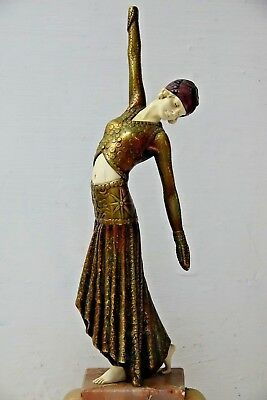 Very Beautiful Large Art Deco Style Lady Dancer On Onyx Stand - L@@k