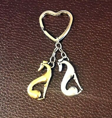 Seeing Double! Sitting Greyhounds Heart-Shaped Keyring  **FREE SHIPPING**