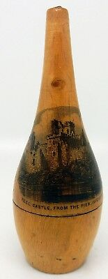 Antique Scottish Mauchline Ware Sewing / Thread Case Peel Castle Isle of Man