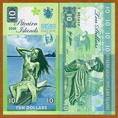 Pitcairn Islands, $10 private issue, 2018, Bounty, Polynesian Nude