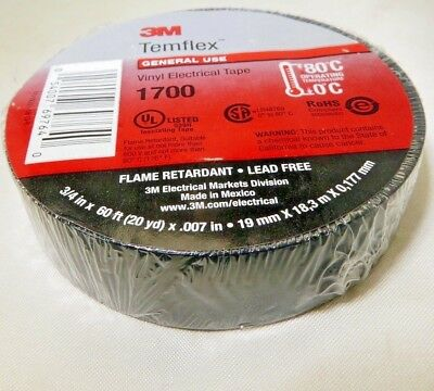 """One Roll  3M TEMFLEX 1700 ELECTRICAL TAPE BLACK 3/4"""" x 60 FT INSULATED ELECTRIC"""