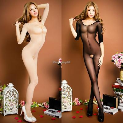 Women Sexy Long Sleeve Crotchless Solid See Through Bodysuit C1MY