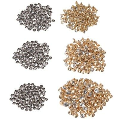 100x Fashion Rhinestone Rivets Studs Leather Craft DIY For Clothes Shoes Decor