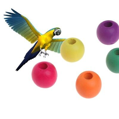 10PCS 20MM Wooden Colorful Beads For Pet Bird Toy Parrot Play and Chew DIY Toys