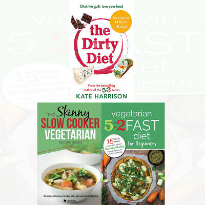 Dirty Diet Kate Harrison Collection Skinny Slow Cooker Vegetarian 3 Books Set