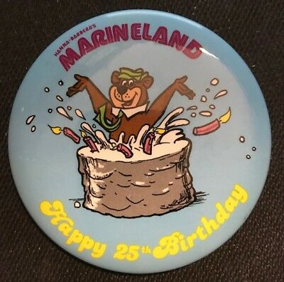 "Vintage 1979 3 3/8"" Marineland ""happy 25Th Birthday"" Pinback (Yogi Bear)"