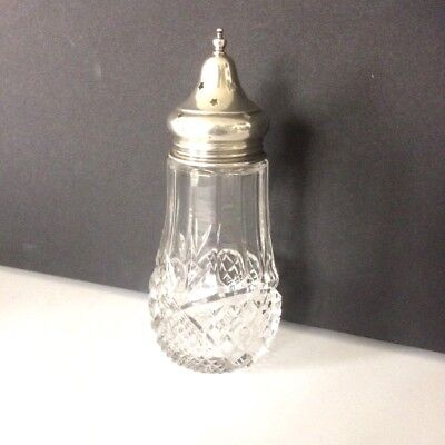 CUT GLASS SUGAR SIFTER WITH SILVER TOP c.1900