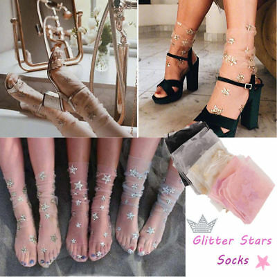 30692e2b446 Fashion Women Glitter Star Soft Mesh Socks Elastic Transparent Sheer Ankle  socks