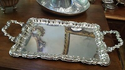 555g STERLING SILVER HANDLE TRAY HEAVY CARVING STYLE: DURAN HM