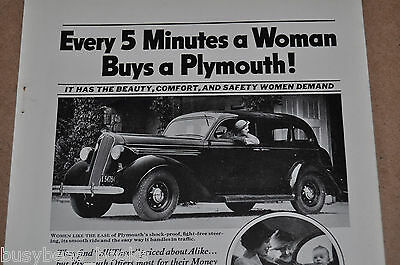 1936 PLYMOUTH advertisement, Woman buyers and drivers, Plymouth sedan