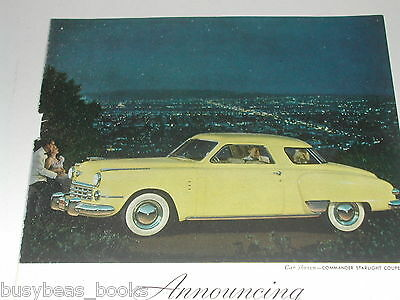 1949 Studebaker advertisement, STUDEBAKER Commander Starlight Coupe color photo