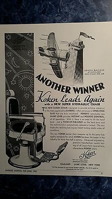 Vintage 1932 KOKEN New Hydraulic Barber Chair  Sign/Ad