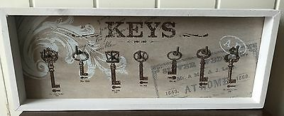 House Car 7 Key Hooks Wood Framed Style Wall Hanging White Chic Shabby Hall