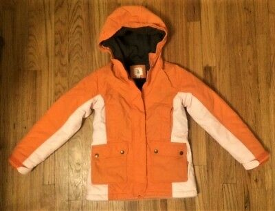 Lands End Girl's Squall Winter Coat Size S 7-8 Orange  Hooded Grow A Long Jacket