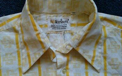 VINTAGE 1970's MARLBORO SHIRT sz S 15 1/2 YELLOW and WHITE BUTTON FRONT NICE!