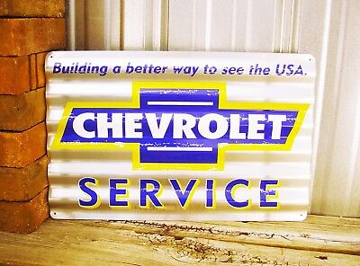 Chevrolet Chevy Service Corrugated Shop Rustic Metal Tin Sign Vintage Garage New