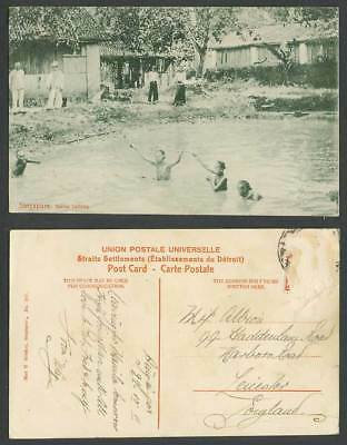 Singapore 1911 Old Postcard Native Bathing Bathers Houses Huts Ethnic Life N.227