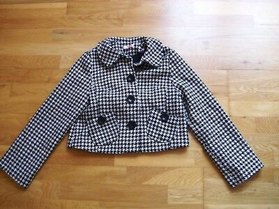 Girls black and white houndstooth jacket by SOPHIE age 13 30% wool lined ex con