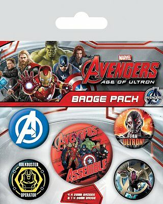 Button Badge 5er Pack AVENGERS - Age Of Ultron Marvel Comics 1x38mm & 4x25mm NEU