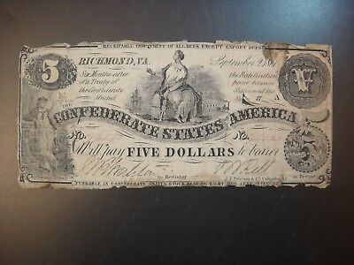 Sept. 2nd 1861 Conferderate States of America $5. Fine Details. F #CS36