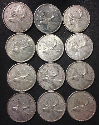 Old Canada Silver Coin Lot - 25 Cents - 1942-1964 - 12 Silver Coins - Lot #A22