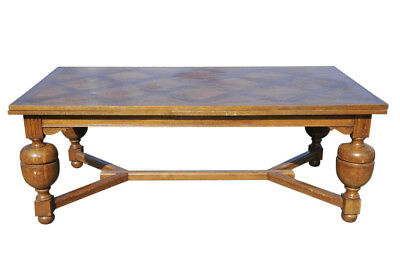 HUGE Antique French Tudor Oak Dining Room Table Over 12 Foot Long