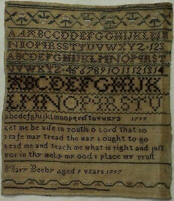Small Late 18Th Century Alphabet & Verse Sampler By Mary Beeby Aged 9 - 1797