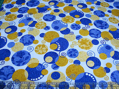 Sassy by Studio 8 Quilting Treasures BTY Blue and Tan Medallions on Gold