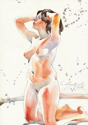 Original Unikat Aquarell Bild Akt Erotik Art Female Nude Watercolor Painting 296