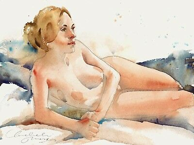 Original Unikat Aquarell Bild Akt Erotik Art Female Nude Watercolor Painting 301