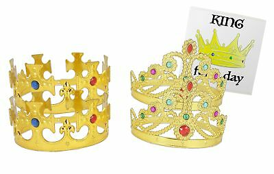 WellPackBox 4 Pack King Queen Party Costume Plastic Crown Gold, King Royal Ki...