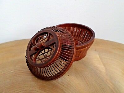 Vintage Woven Bamboo & Lacquer Box, Basket - Chinese, Oriental Cricket Cage?