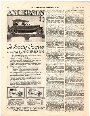 1919 Old Magazine Print Ad Anderson A Body Vogue Convertible A106
