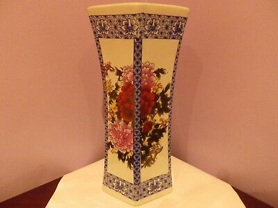 Vintage Chinese Hexagonal Porcelain Flowers & Calligraphy Des Vase 28 Cms Tall