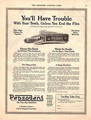 1919 Old Magazine Print Ad Pepsodent The New-Day Dentifrice Advertisment A109