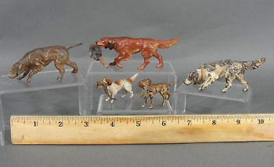 Antique Miniature Austrian Bronze & Spelter Metal Bird Hunting Dogs & Gamebirds