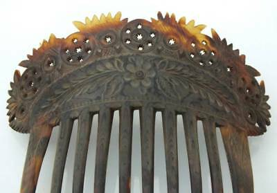 Antique Victorian Large Faux Tortoise Shell Carved Flower Leaf Motif Hair Comb