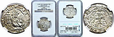 1396-1421 Rhodes Silver Gigliato Philibert Of Naillac Malloy 27C  NGC F-15
