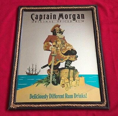 CAPTAIN MORGAN Deliciously Different Rum Bar Advertising Mirror Sign PIRATE RARE