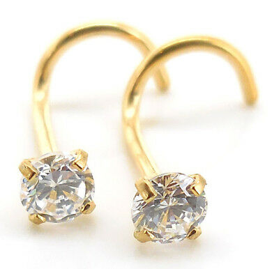 Pair Prong Set Gold Tone Stainless 18G 20G Nose Screw CZ AB Crystal Rings Body