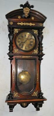 pretty walnut and brass mounted gustav becker vienna wall clock c1900