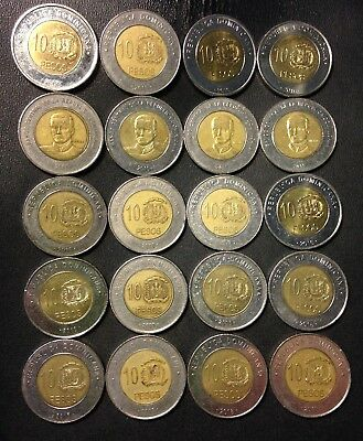 Old Dominican Republic Coin Lot - 10 PESOS - 20 Bi-Metal Coins - Uncommon